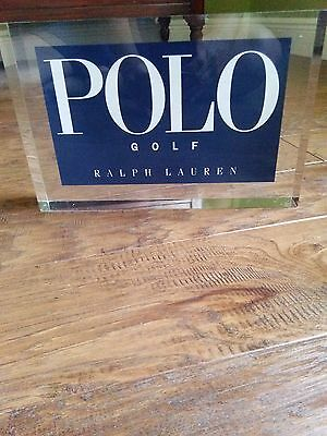 "Ralph Lauren Polo Golf Acrylic Store Display Sign 10.23""x6.75"" RARE"
