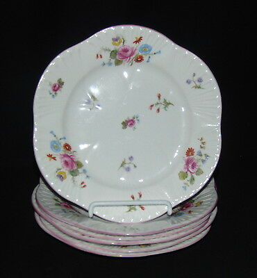 "6 Shelley DAINTY ROSE & RED DAISY *7"" SALAD PLATES*"