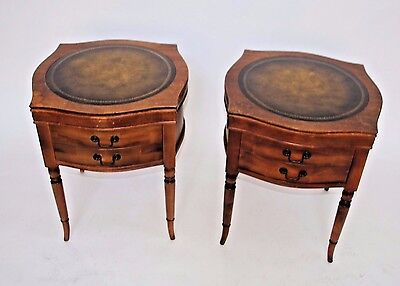 Rare Vintage pair of Regency style Mahogany Leather Top Night Stands End Table