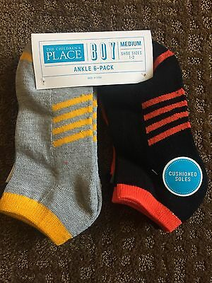 The Children's Place Boys Medium Ankle Socks - 6 Pack - Shoe Size 1-2