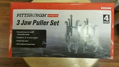 """4 Pc Puller 3 Jaw Set 3"""" 4"""" 6"""" 8"""" Gear Pullers"""