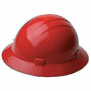 ERB SAFETY Hard Hat,Type 1, Class E,Ratchet,Red, 19224