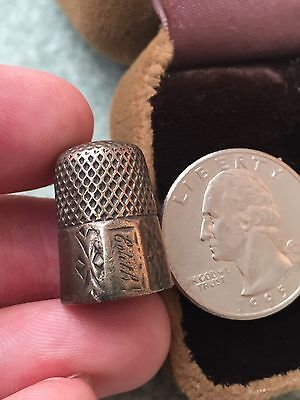 Antique Old Sterling Silver Etched Design  Sewing Thimble - 5.61 Grams