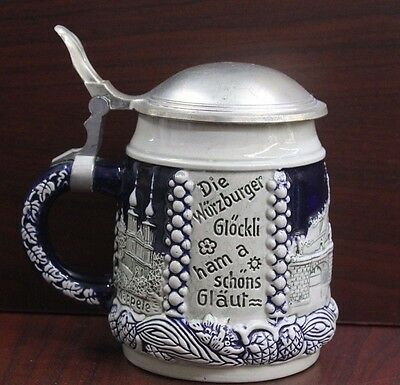 DBGM Lidded Beer Stein Würzburg Theme - Mug Made in Germany