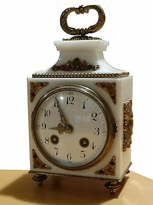 Beautiful French Officier Marble Ormolu Mantel Clock