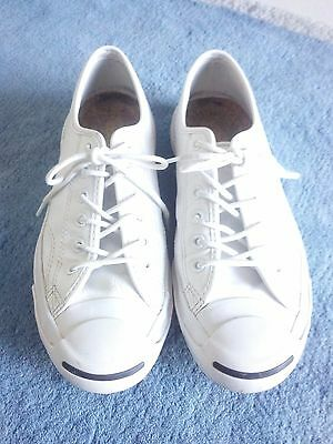 Converse Authentic Leather Jack Purcell White Shoes Unisex Womens 8.5 Mens 7
