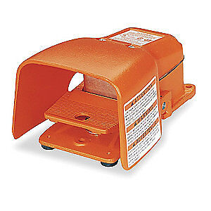 LINEMASTER Cast Iron Heavy Duty Foot Switch,Momentary Action, 532-SWH, Orange