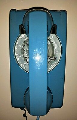 Vintage Blue Western Electric Bell System Rotary Dial Wall Telephone