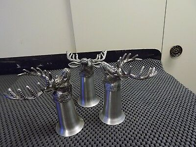 Vintage Jagermeister lot of 3 metal and pewter Stag Head shot glasses