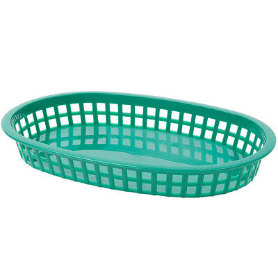 "12/Pack Green 10 3/4"" x 7"" x 1 1/2"" Oval Plastic Fast Food Baskets 808107GN"