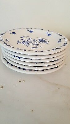 "6 Vintage Syracuse China 5-/2"" Small Plates, white with blue floral design, good"