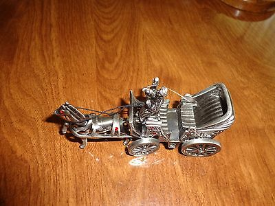Egyptian Silver Horse Drawn Gig Buggy & Driver #050