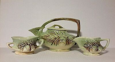 Mccoy 1946 Green And Brown Pinecone Tea Set