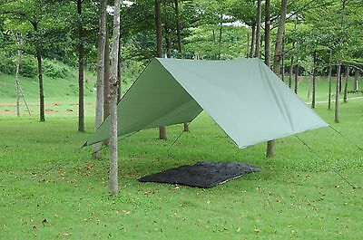 Double Hammock Tent Outdoor Camping Rainfly Tarp with Stuff Sack Hook Ring Rope.