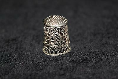 Early 1900s 1920s Sterling Silver Thimble Detailed Peruvian Vintage Collectible