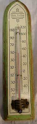 Vintage Chaney Tru-Temp Thermometer On Wonderful Distressed Wooden Base-Works