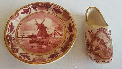"Vintage DELFT Regina Miniature 2 1/2"" Ceramic Plate & Shoe Made in Holland"