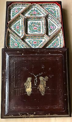 Antique Chinese Lacquered Handpainted Tea/Sweet Box Caddy Porcelain Dish Inserts