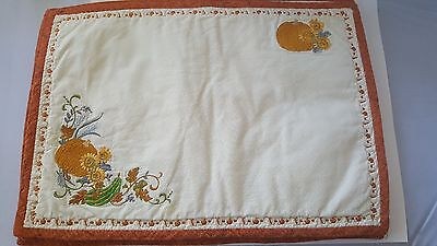 Fall Autumn Placemats Embroidered Pumpkins Handmade Vintage Set of 4
