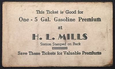 Frederick Maryland Gas Station Advertising H L Mills 5Gal Free Business Card
