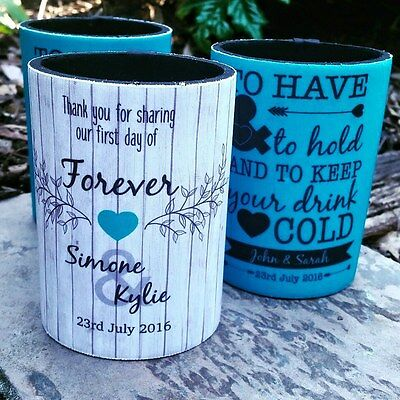10 Custom & personalised WEDDING | BUSINESS| 21st Stubby Holders |without bases