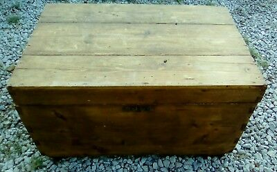 Large Primitive Dovetail Wooden Trunk or Chest Wormwood