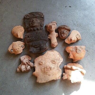 Antique Early Pre Columbian Terra Cota Figure Head South American Lot of 10