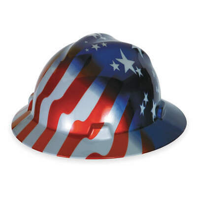 MSA Hard Hat,C, E,Red/White/Blue,4pt Ratchet, 10071157, Red/White/Blue