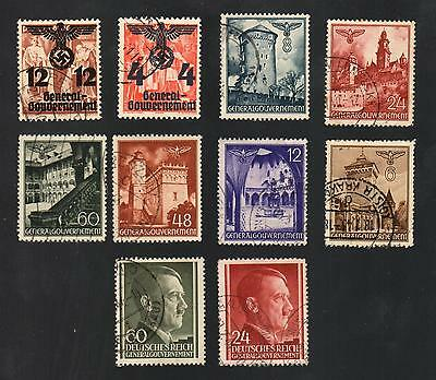 WWII Germany Occupied Poland (1940 - 1944) - Lot of 10 Different Stamps - #5