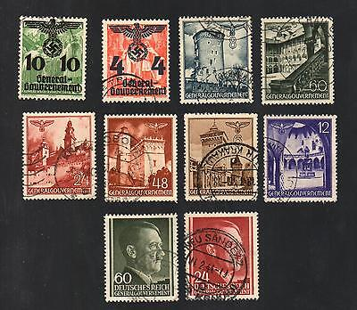 WWII Germany Occupied Poland (1940 - 1944) - Lot of 10 Different Stamps - #6