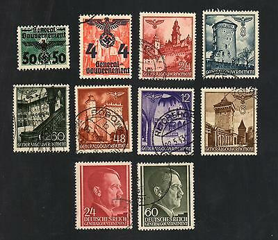 WWII Germany Occupied Poland (1940 - 1944) - Lot of 10 Different Stamps - #8