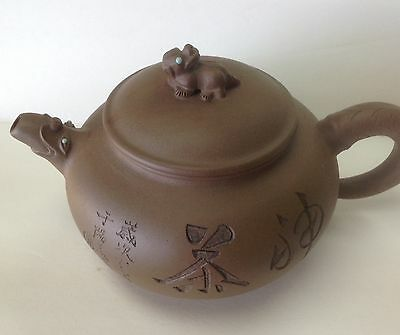 Vintage Antique Chinese Red  Clay Teapot w/ Calligraphy/ Birds- No Damage!