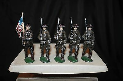 5 pc Vtg 1950's Lead Metal Toy World War 1  Soldiers 1 Flag Bearer 4 Marching
