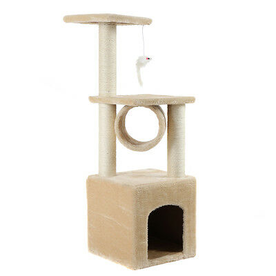"Deluxe 37"" Cat Tree Condo Furniture Play Toy Kitten Pet House Beige"