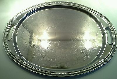 Large Vintage Silver Plated Eliptical Serving Tray