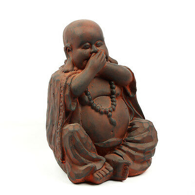 Jolly Buddha Decor Statue in  Speak No Evil Pose with Red/Grey/Maroon shade, 9 i