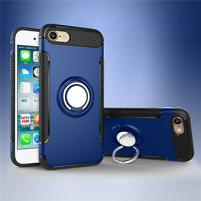Deep Blue 360° Ring Holder Shockproof Hybrid Rugged Case Cover For iPhone 7 Plus