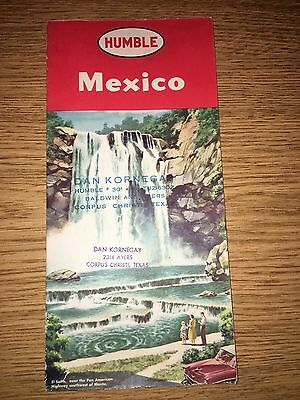 1957 Humble Road Map Of Mexico