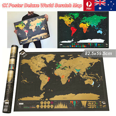 1Pcs 82.5x59.5cm Large Deluxe Scratch Map World Poster Travel Atlas Personalised