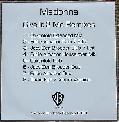 "Madonna ‎""Give It 2 Me Remixes"" CD promo 8 versions"