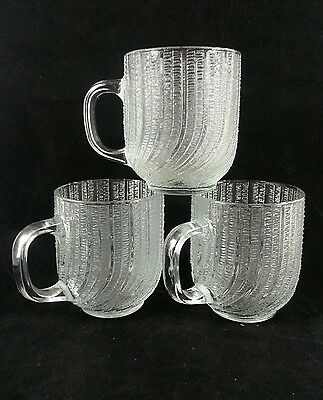 Arcoroc France Clear Glass Seabreeze Pattern Cup Mugs Set Of 3