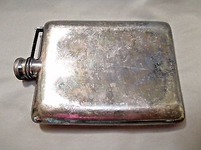 LARGE VINTAGE WHISKEY ALCOHOL HIP FLASK KNICKERBOCKER SILVER CO 10oz