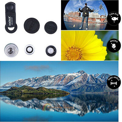 Convenient  3 in1 Fish Eye Wide Angle  Macro Camera Clip on lens for Cell Phone
