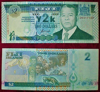 Fiji $ 2 - TWO DOLLARS ND ( 2000 ) P-102 BRAND NEW Y2K COMMEM. NOTE UNC