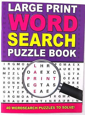 A4 Purple Large Print Word Search Puzzle Book - Fun Travel Solve Wordsearch Game