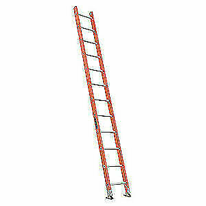 LOUISVILLE Fiberglass Straight Ladder,12 ft.,300 lb.,Fg, FE3112