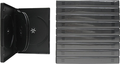 DVD Cases Clear Outer Plastic 22mm Sized CD Media Storage 10 Black 6 Disc