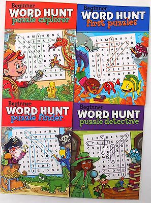 4 x BEGINNER WORD HUNT PUZZLE BOOKS - FUN TRAVEL SOLVE GAMES KIDS LEARNING CUTE