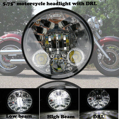 """Motorcycle 5-3/4""""  5.75"""" 70W LED HI Lo Chrome Headlight Projector DRL For Harley"""