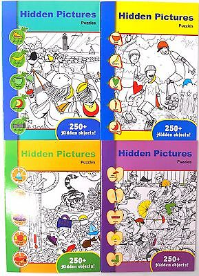 4 x HIDDEN PICTURES PUZZLE COLOURING BOOKS - KIDS CHILDREN LEARNING SHAPES FUN